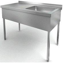 Стол производственный со встроенной моечной ванной 1300х700х850 СЗМ-7-4-30