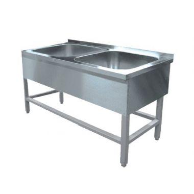 Ванна моечная 2-х секционная с бортом 1000х700х850