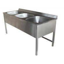 Ванна моечная 3-х секционная 1500х700х850 с бортом