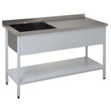 Стол со встроенной моечной ванной с бортом и полкой 1500х700х850